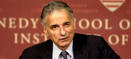 File photo, then-presidential candidate Ralph Nader, 08/18/08. (photo: Kennedy School)