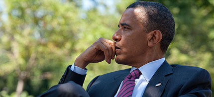 President Barack Obama in a pensive moment at the White House, 09/28/10. (photo: Reuters)