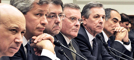 The chief executives of banks that received federal government aid testified before the House Financial Services Committee, 02/12/09. (photo: Reuters)