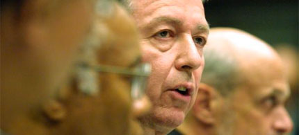 Then-Attorney General John Ashcroft reports to Congress in the aftermath of the 9/11 attacks, 09/24/01. (photo: Alex Wong/Getty Images)