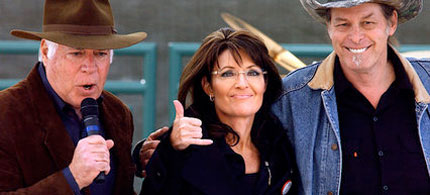 Republican candidate for Senate John Raese, left, Sarah Palin, center, and performer Ted Nugent embrace during a rally in Charleston, West Virginia, 10/30/10. (photo: Jon C. Hancock/AP)