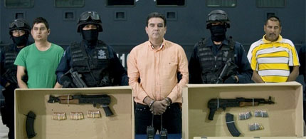 File photo: Alleged drug traffickers of the Sinaloa Cartel are presented to the press in Mexico City after their arrest, 11/14/10. (photo: Ronaldo Schemidt/AFP/Getty Images)