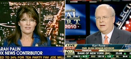Sarah Palin and Karl Rove appearing on Fox News, 11/16/10. (images: Fox News)
