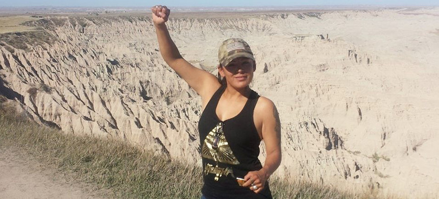 Red Fawn Fallis, a member of the Oglala Sioux tribe, was arrested in 2016. (photo: Eryn Wise)