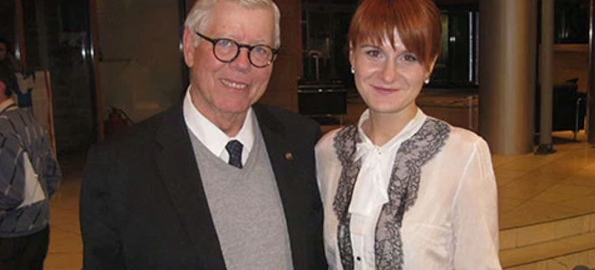 The NRA's David Keene with Butina in Moscow, Nov. 2013. (photo: Facebook)