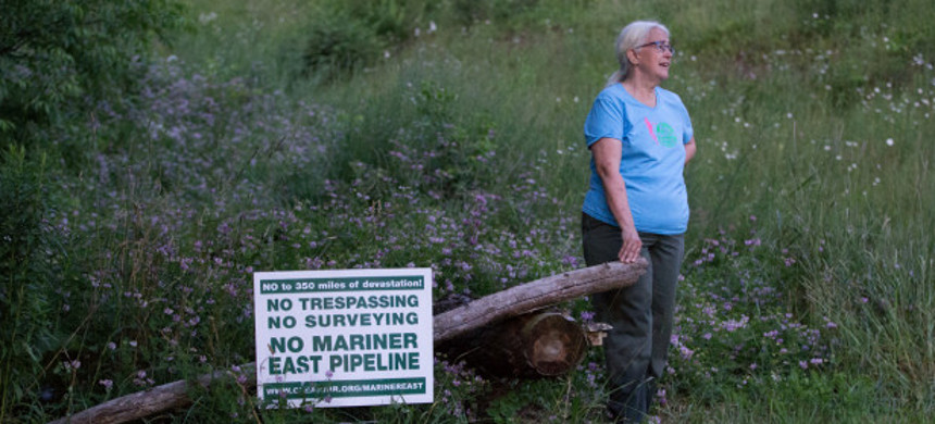 Ellen Gerhart has been battling with Sunoco Logistics over the construction of the Mariner East 2 pipeline on their property in Huntingdon County, Pennsylvania. (photo: Lindsay Lazarski/NPR)