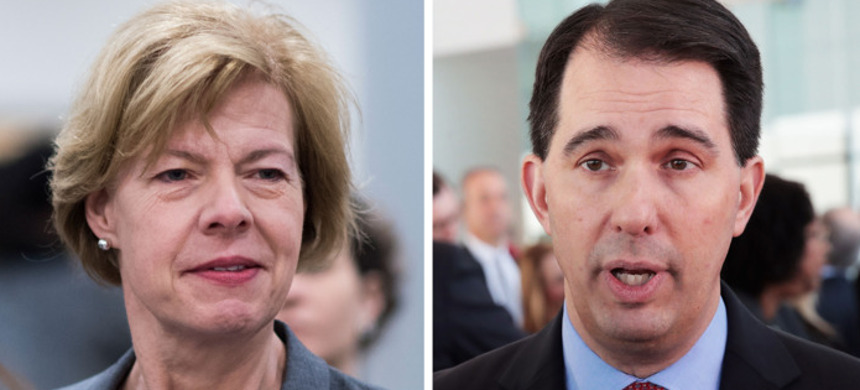 Incumbent governor Scott Walker and Senator Tammy Baldwin are loathed by members of the opposite party, and the August 14 primary will shape challenges to them. (photo: Scott Olson/Getty)