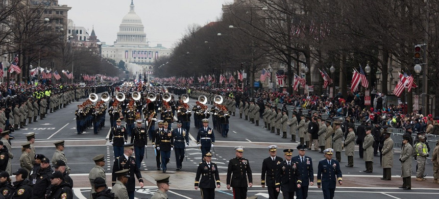 Soldiers from the 3rd U.S. Infantry Regiment and service members from around the Department of Defense participate in the 58th Presidential Inauguration and parade January 20, 2017. (photo: U.S. Army)