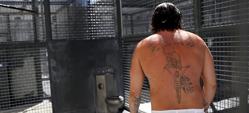 An inmate at San Quentin in California. The strike was symbolically timed to mark the death of a Black Panther held at the prison. (photo: Justin Sullivan/Getty)