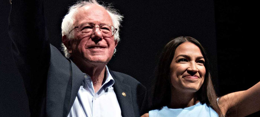 Bernie Sanders and Alexandria Ocasio-Cortez. (photo: J. Pat Carter/WP/Getty Images)