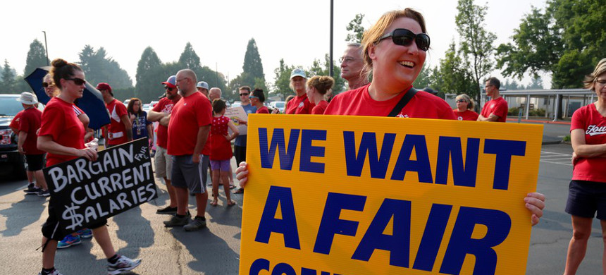 Teachers across Washington state are negotiating higher wages as a result of additional funding from the state because of the McCleary fix. (photo: Molly Solomon/OPB)