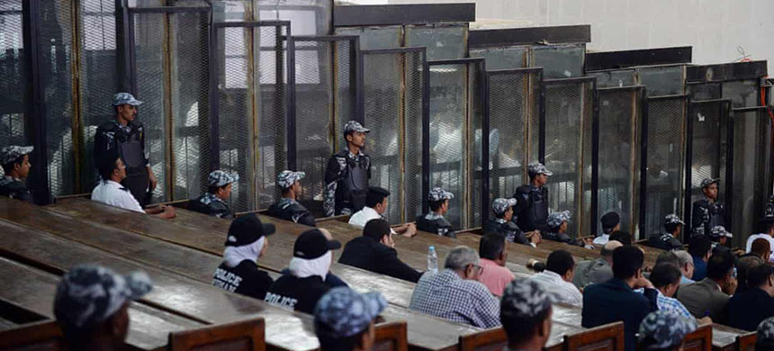 The courtroom and soundproof dock at the Rabaa mass trial. (photo: Mohamed El-Shahed/AFP/Getty Images)