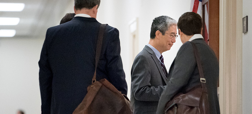 President Trump ordered the declassification of documents related to the Russia investigation and to Bruce G. Ohr, center, a Justice Department official. (photo: Erin Schaff/NYT)