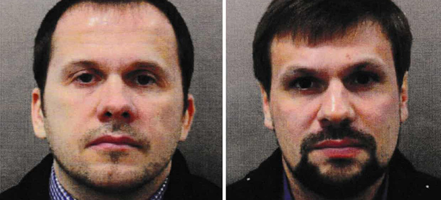 The Salisbury suspects identified by British police as Alexander Petrov (left) and Ruslan Boshirov. (photo: PA)