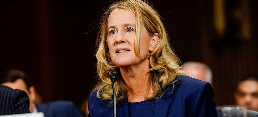Christine Blasey Ford answers questions at a Senate Judiciary Committee hearing on Capitol Hill, Washington, D.C., September 27, 2018. (photo: Melina Mara/Reuters)