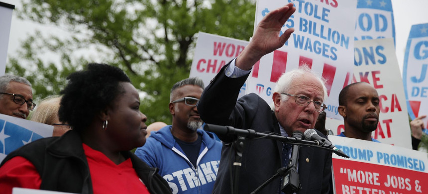 Senator Bernie Sanders at a rally last year on Capitol Hill for a  minimum and rights to form unions. (photo: Alex Wong/Getty)