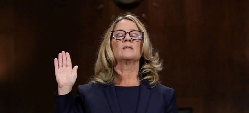 Christine Blasey Ford is sworn in before testifying the Senate Judiciary Committee in the Dirksen Senate Office Building at the Capitol Hill in Washington, D.C., September 27, 2018. (photo: Win McNamee/Reuters)