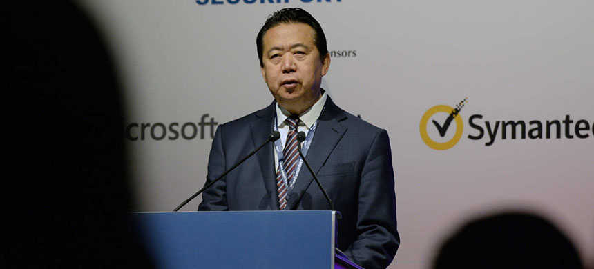 Meng Hongwei, president of Interpol, giving a speech in 2017. (photo: AFP Contributor/AFP/Getty Images)