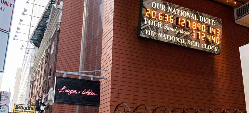 The National Debt Clock in NYC. (photo: Getty Images)