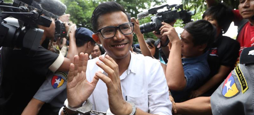 Kyaw Zaw Linn, the editor in charge at Eleven Media, is one of three arrested. (photo: Ann Wang/Reuters)