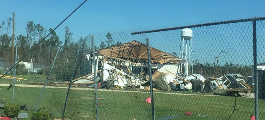 A damaged structure at the Gulf Correctional Institution facility. (photo: Talal Ansari/BuzzFeed News)