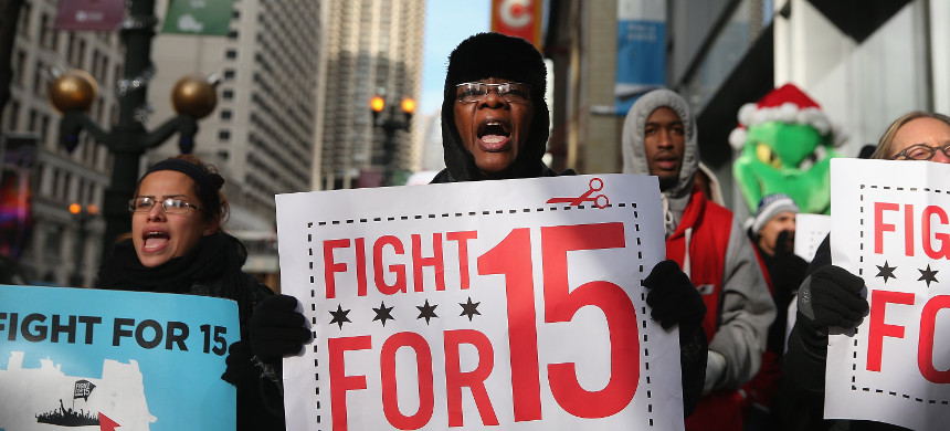 A demonstration for  minimum wage. (photo: Getty)