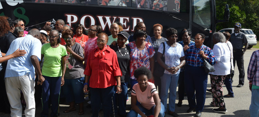 Seniors in Jefferson County post with Black Voters Matter bus. (photo: Kira Lerner)