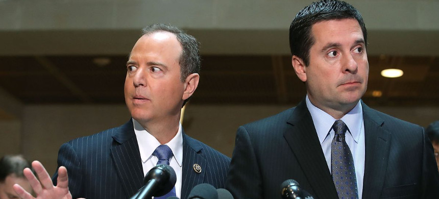 House Intelligence Committee Chair Devin Nunes (R-CA) and ranking member Rep. Adam Schiff (D-CA) at the US Capitol on March 15, 2017. (photo: Aaron Bernstein/Reuters)