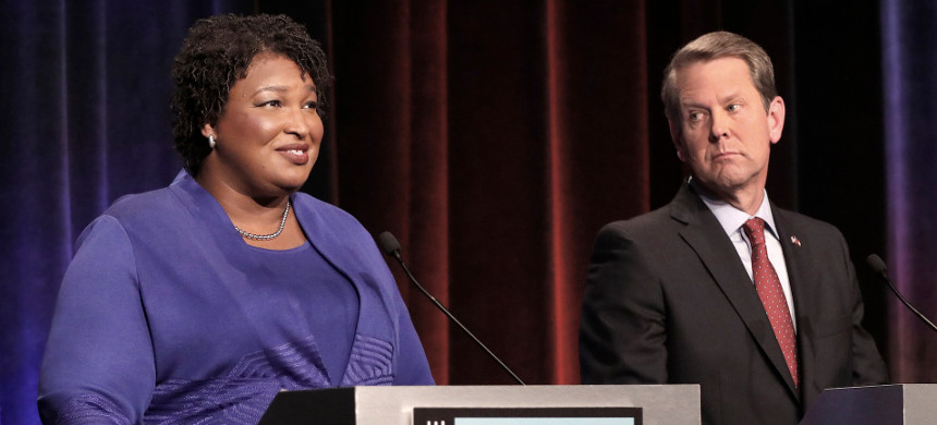 Georgia gubernatorial candidates (L-R) Democrat Stacey Abrams and Republican Brian Kemp debate in an event that also included Libertarian Ted Metz at Georgia Public Broadcasting in Midtown October 23, 2018 in Atlanta, Georgia. (photo: John Bazemore/Getty Images)