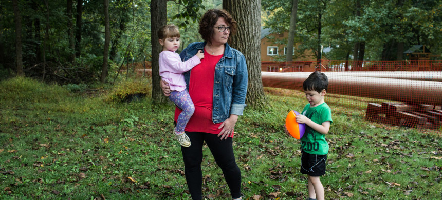 Danielle Friel Otten with her children, Eleanor and Jack. Friel Otten's concerns over the Mariner East pipeline project have spurred her to run for a seat in the Pennsylvania Assembly. (photo: Michaelle Gustafson/The New Yorker)