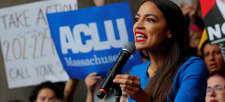 Alexandria Ocasio-Cortez speaks at a rally against Brett Kavanaugh in Boston on 1 October. (photo: Brian Snyder/Reuters)