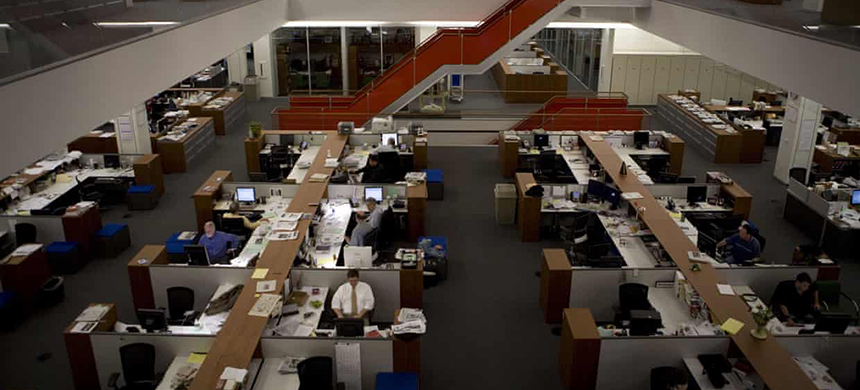 The newsroom at the New York Times building in May 2008. (photo: Jonathan Torgovnik/Getty Images)