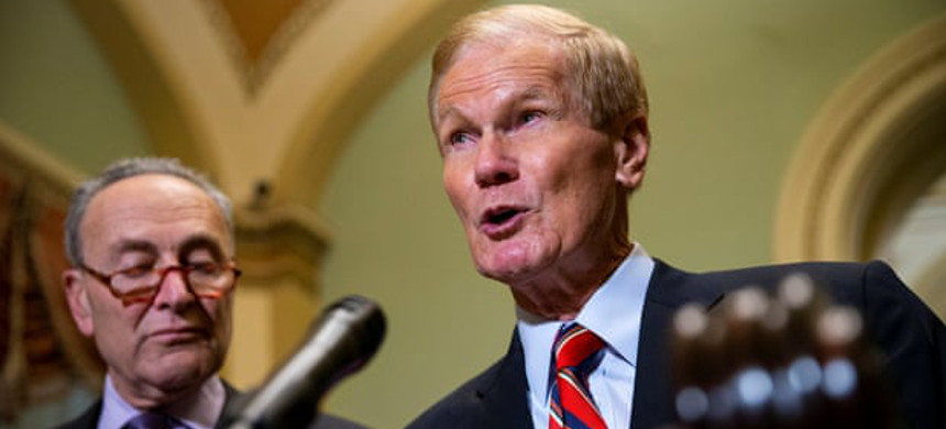Democrats Chuck Schumer and Bill Nelson on Tuesday. Nelson, whose Senate race with Rick Scott is too close to call, called on Scott to recuse himself. (photo: Alexander Drago/Reuters)