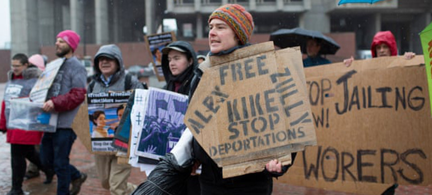 Protesters call for the release of two activists with Migrant Justice and a detained migrant worker in Boston, Massachusetts, on 27 March 2017. (photo: CJ Gunther/EPA)