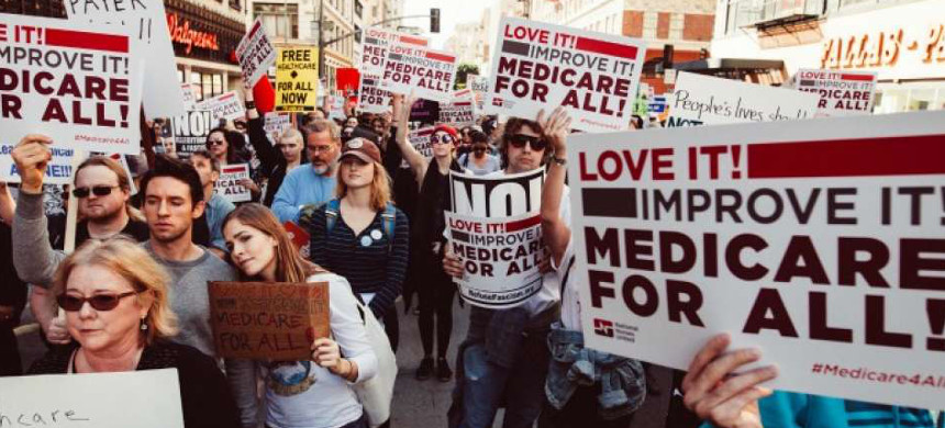 Demonstrates march in support for Medicare for All. (photo: AP)