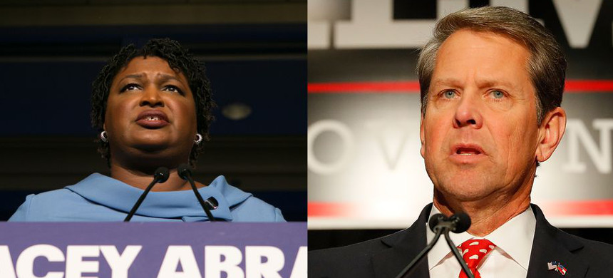 With the Georgia election too close to call, Stacey Abrams and Brian Kemp are fighting over the significance of uncounted votes. (photo: Jessica McGowan/Getty; Kevin C. Cox/Getty)