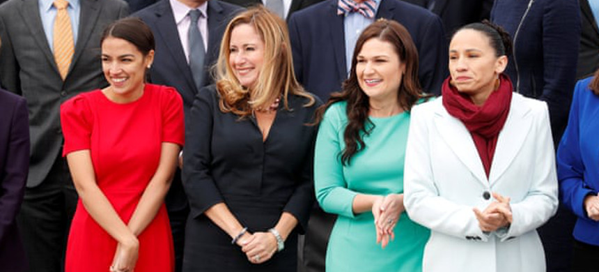 Democratic Representatives-elect Alexandria Ocasio-Cortez of New York, Debbie Mucarsel-Powell of Florida, Abby Finkenauer of Iowa and Sharice Davids of Kansas on Capitol Hill. (photo: Kevin Lamarque/Reuters)