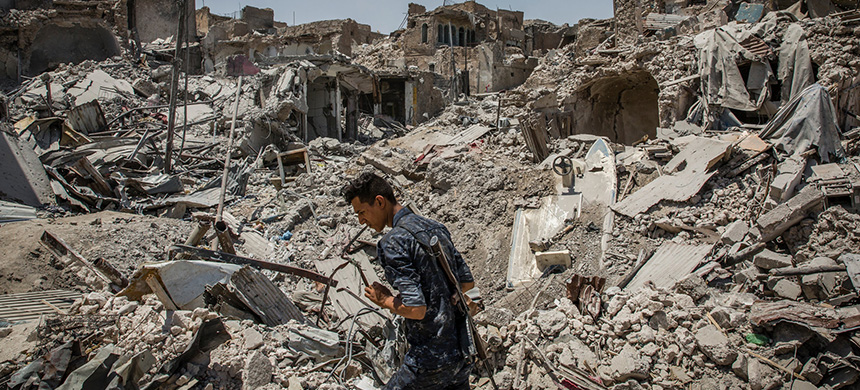 Destruction along the front lines in the fight to retake Mosul, Iraq, from the Islamic State last year. A study found that despite its territorial losses, the group has more members than when it seized the northern third of Iraq. (photo: Ivor Prickett/NYT)