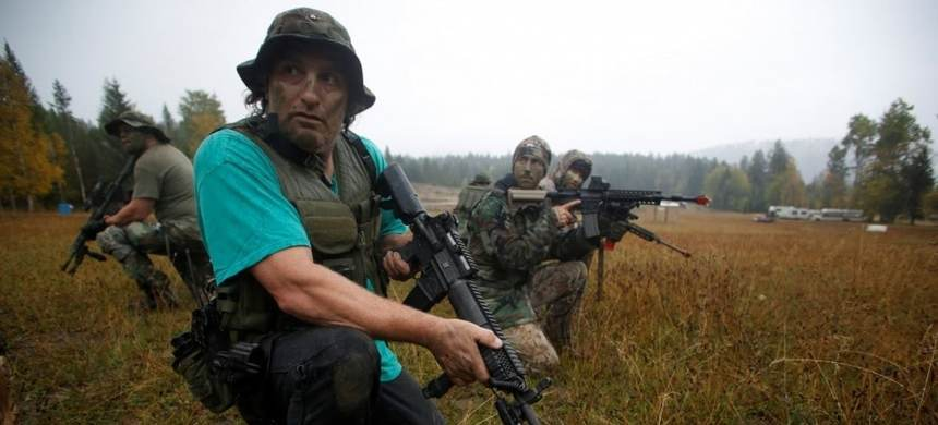 Oath Keepers and others participate in tactical training in northern Idaho. (photo: Jim Urquhart/Reuters)