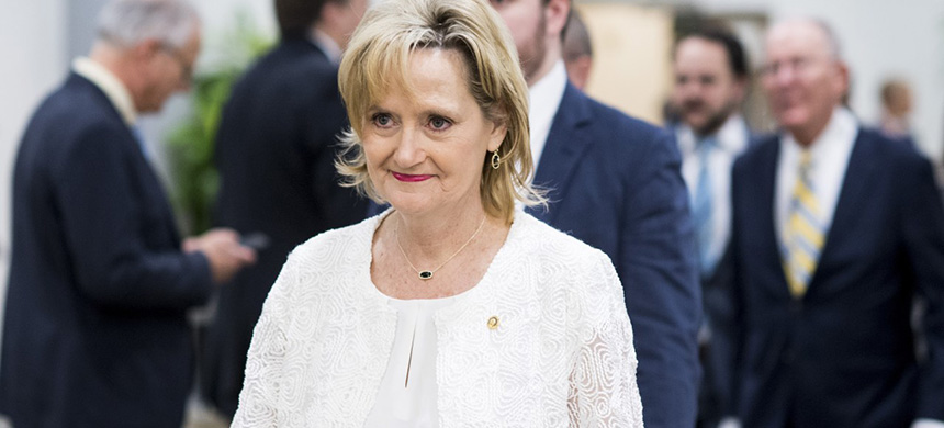 Senator Cindy Hyde-Smith leaves the capitol after a vote on Thursday, June 14, 2018. (photo: Bill Clark/CQ Roll Call)