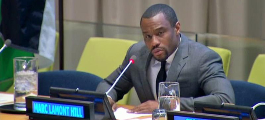 Professor Marc Lamont Hill spoke at the Special Meeting of the Committee on the Exercise of the Inalienable Rights of the Palestinian People on November 28, 2018. (photo: United Nations)