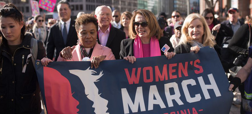 Rep. Barbara Lee (second from left) marches with House Minority Leader Nancy Pelos (third from left) and other congresswomen during the Women's March on January 20, 2018. (photo: Getty)