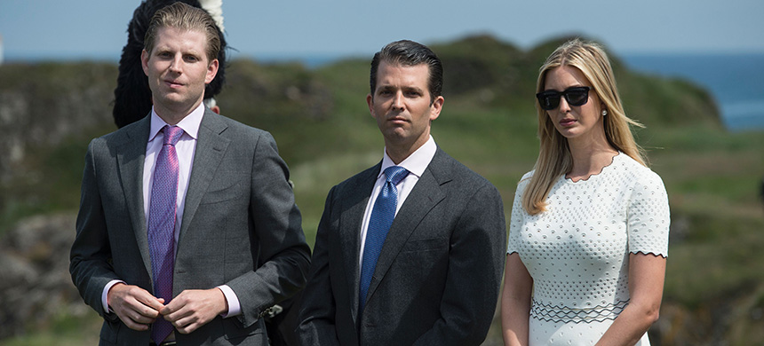 Ivanka Trump (R), Donald Trump Jr. (C) and Eric Trump. (photo: Oli Scarff/AFP/Getty Images)