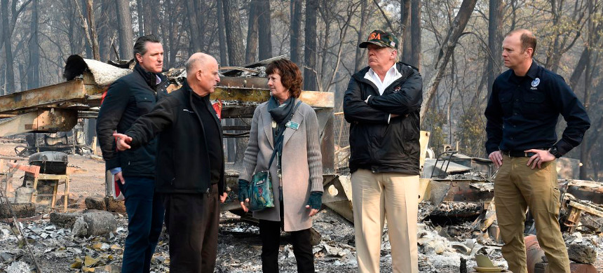 President Trump visits wildfires in California. (photo: Saul Loeb/Getty)