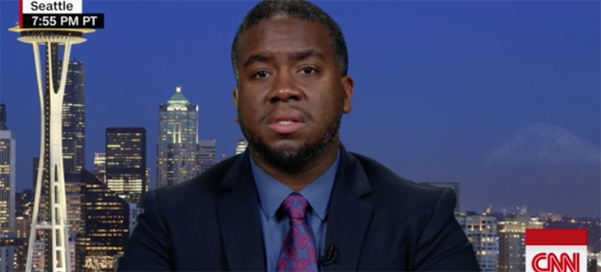 Jermaine Massey speaking about his experience at the Portland Hilton on CNN. (photo: CNN)
