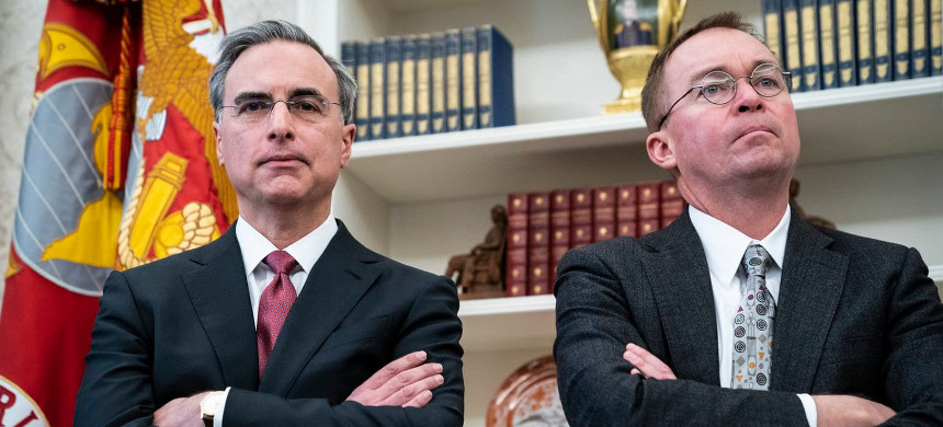 White House Counsel Pat Cipollone, left, and then-Office of Management and Budget Director Mick Mulvaney listen during an Oval Office meeting on Dec. 11, 2018. (photo: Jabin Botsford/The Washington Post)