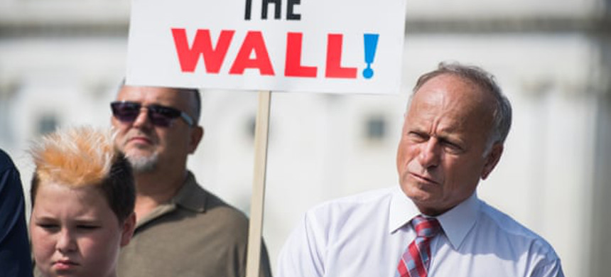 Steve King attends a rally to highlight crimes committed by undocumented immigrants, in September. (photo: Tom Williams/Roll Call)