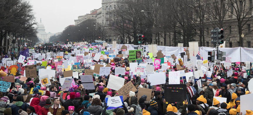 People gathered at Freedom Plaza in Washington on Saturday for the Women's March. (photo: Sarah Silbiger/NYT)