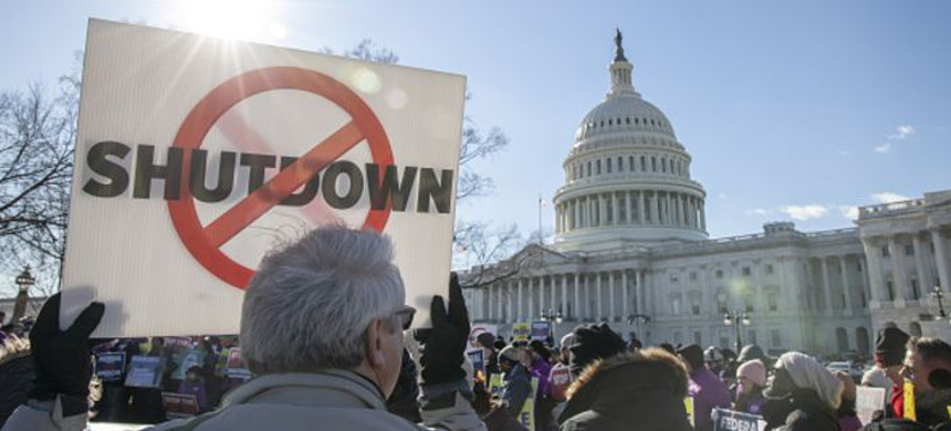 Demonstrators rally against a partial government shutdown at a protest hosted by the National Air Traffic Controllers Association on Capitol Hill in Washington, D.C., Thursday, Jan. 10, 2019. (photo: Alex Wroblewski/Getty)