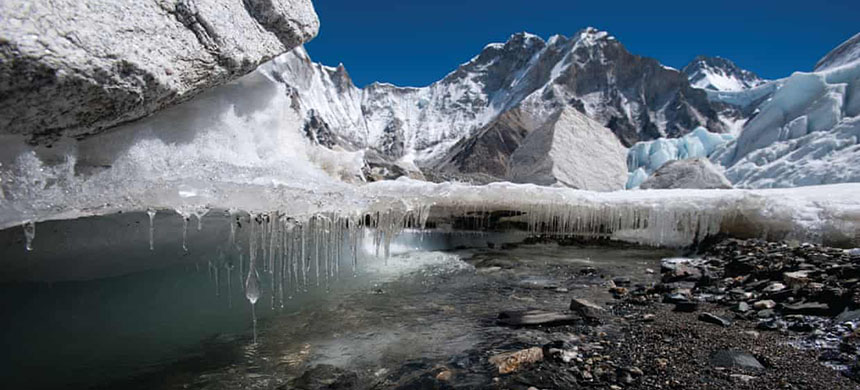 Melting ice on Khumbu glacier in the Everest-Khumbu region. Himalayan glaciers are a water source for 250 millions people. (photo: Alex Treadway/ICIMOD)